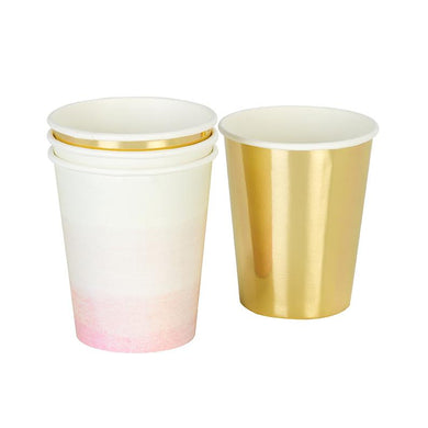 Pink and Gold Cups (Set of 12)