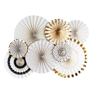 Black, White & Gold Paper Fans (Set of 8)