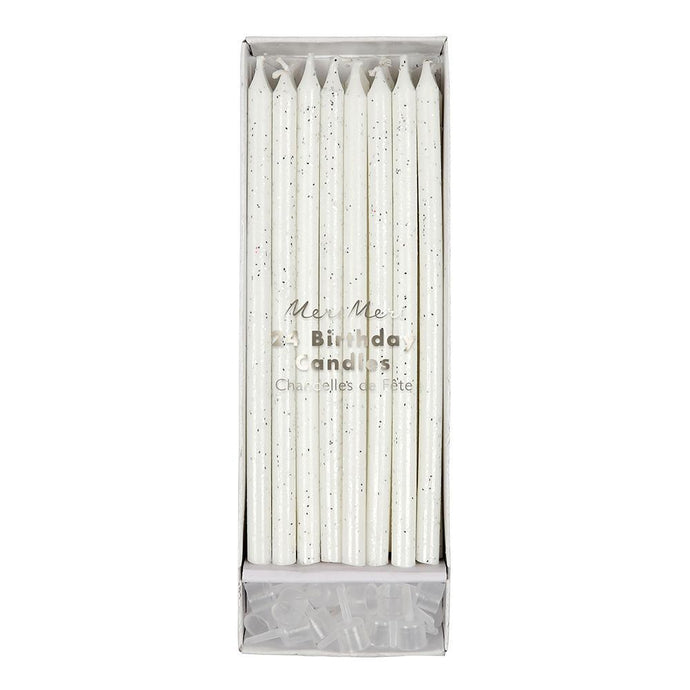 Long Silver Glitter Candles (Set of 24)
