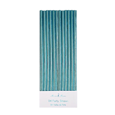 Blue Foil Straws (Set of 24)