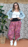 Pink swirl tummy shaper pant - Bohemama clothing nursing breastfeeding maternity funky unique plus size modest comfortable boho bohemian colourful striking versitile tops shirt pants dress br