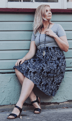 Silver spring nursing swing dress with cap sleeve - Bohemama clothing nursing breastfeeding maternity funky unique plus size modest comfortable boho bohemian colourful striking versitile tops