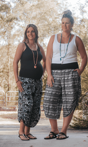 Silver spring 3/4 tummy shaper pant - Bohemama clothing nursing breastfeeding maternity funky unique plus size modest comfortable boho bohemian colourful striking versitile tops shirt pants d