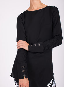 HI LO HOOK AND EYE CUFF BLOUSE
