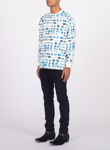 UNISEX LONG SLEEVE PIXEL TEE SHIRT
