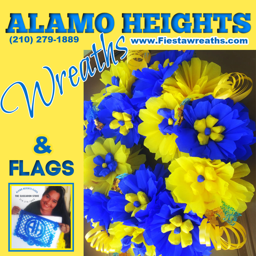 Alamo Heights School Wreaths & Decorations Spirit Party Blue & Yellow Designs