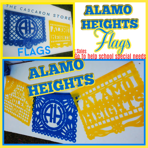 Alamo Heights Flags decoration spirit blue & yellow