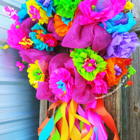 Fiesta Front Door Wreath Party Decoration Spring, Easter Flowers Wreath Home Decor