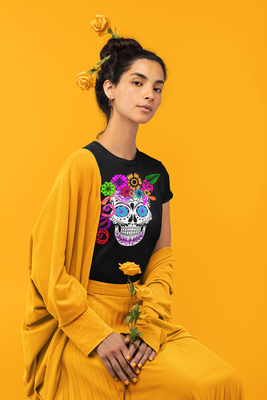 Unisex Day of The Dead Jersey Short Sleeve Tee Unisex Day of The Dead Jersey Short Sleeve Tee - Fiesta Arts DesignsT-Shirt
