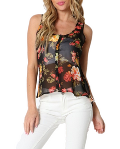 Floral Button Down Tank