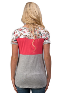 Callie Color Block Floral Tee