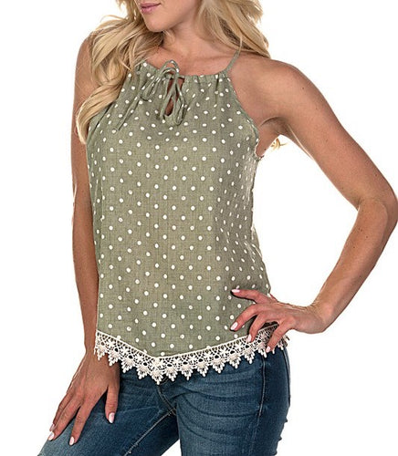 Green With Envy Polka Dot Top