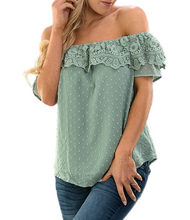Load image into Gallery viewer, Embroidered Cold Shoulder Top