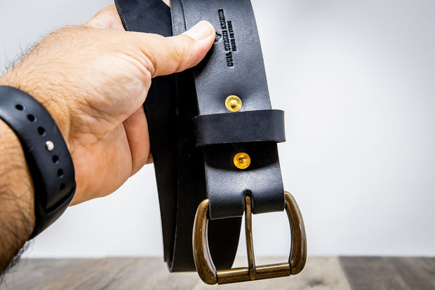Handmade Black Leather Belt
