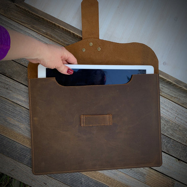 iPad Leather Sleeve, Leather MacBook Sleeve, Leather Laptop Cover