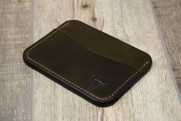 Mens Leather Wallet Green Credit Card Holder
