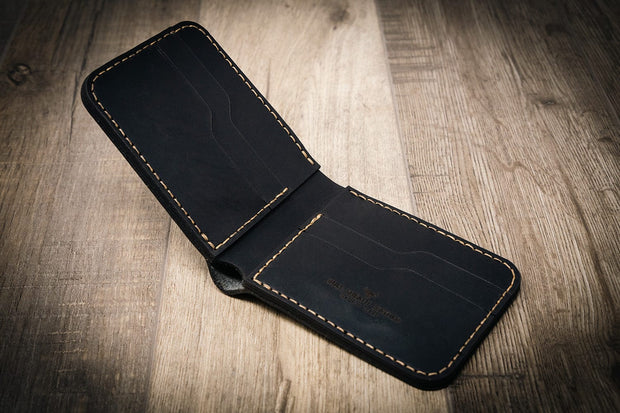 Handmade Black Leather Western Wallet