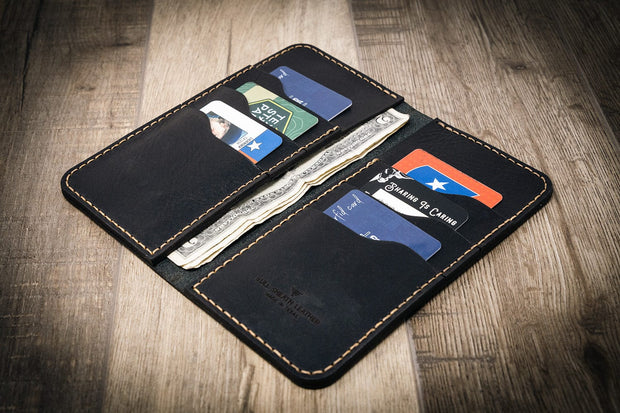 Custom Black Western Long Wallet