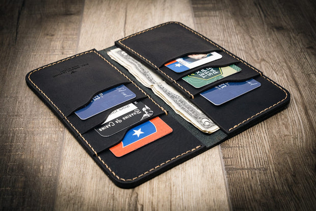 Mens Black Western Long Wallet