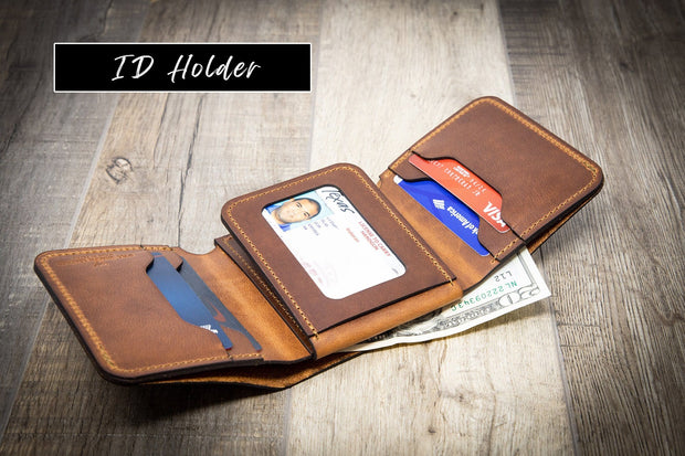 Leather Trifold Wallet - The Trinity - Mens Leather Wallet - Brandy