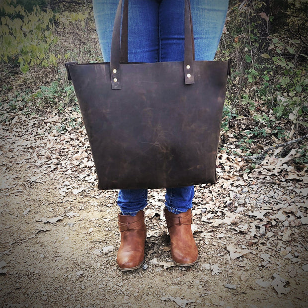 The Canton - Women's Leather Farmers Market Tote - Rustic Brown