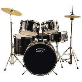 Union - UJ5 5pc Junior Drum Set with Hardware, Cymbals, and Throne - Black