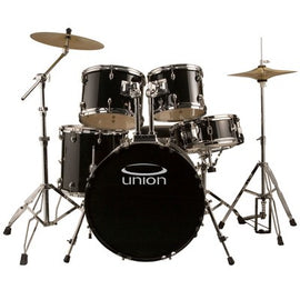 Union - U5 5pc Jazz/Rock/Blues Drum Set with Hardware, Cymbals, and Throne - Black