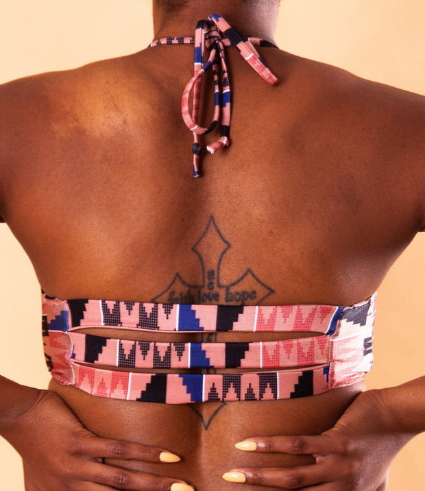 Reversible Halter Top - Pink Kente