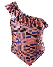 Ruffle One Shoulder One Piece - Pink Kente
