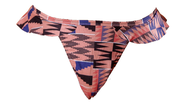 Ruffle Thong Bottom - Pink Kente