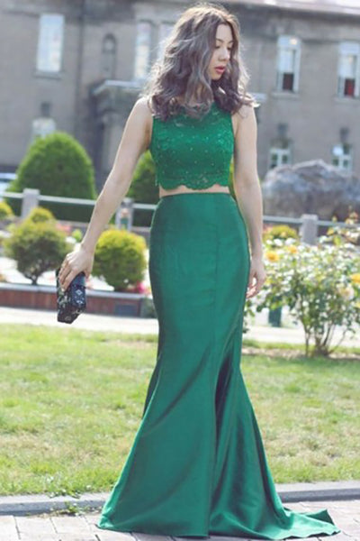 Two Piece Crew Sweep Train Green Satin Sleeveless Prom Dress with Beading Lace LR56