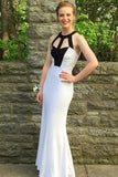 Mermaid Jewel Backless Floor-Length White Prom Dress with Keyhole PDA451 | ballgownbridal
