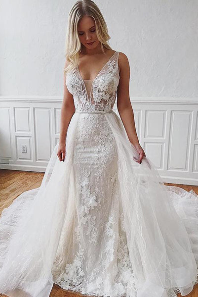 Gorgeous Mermaid Two Piece White Wedding Dresses with Appliques PDA033 | ballgownbridal