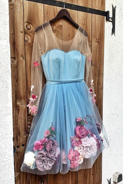 Fashion A Line V Neck Blue Short Homecoming Dresses with Flowers PDA086 | ballgownbridal