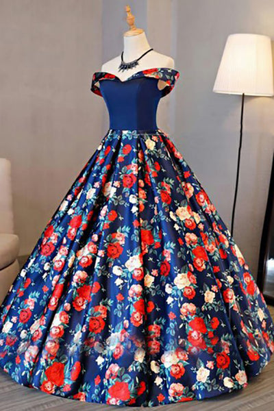 A-Line Off-the-Shoulder Sweep Train Royal Blue Printed Satin Sleeveless Prom Dress LR268