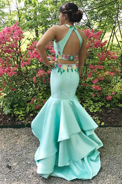 Two Piece Jewel Sweep Train Blue Satin Open Back Prom Dress with Appliques Ruffles LR75