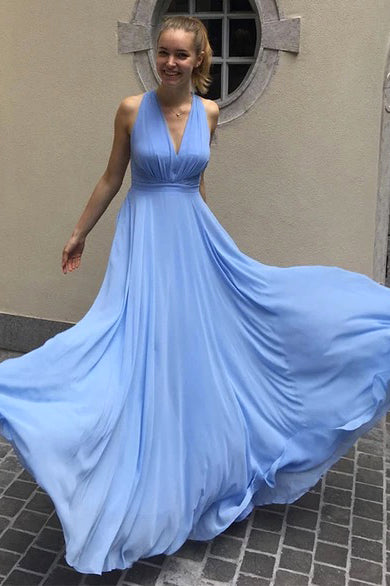 Simple Blue Chiffon V Neck Long Prom Dress PDA245 | ballgownbridal