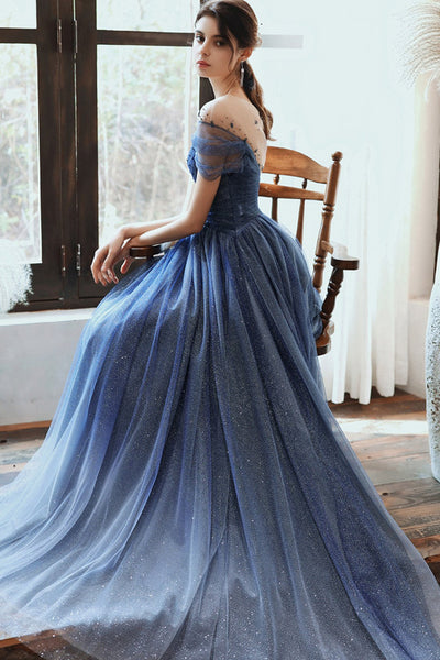 Stunning Blue Tulle Beaded Long Dress PDA481 | ballgownbridla