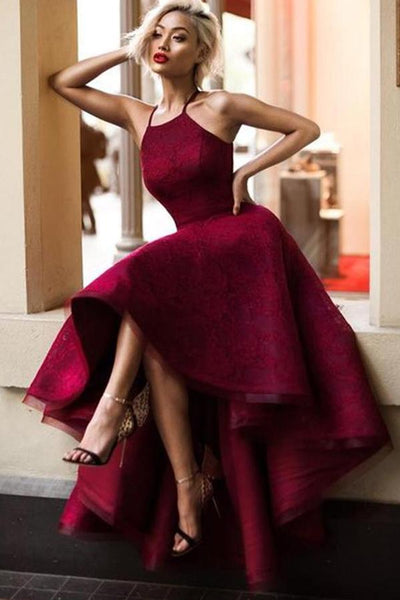Burgundy A Line Asymmetrical Halter Sleeveless Long Prom Dress AHC554 | ballgownbridal