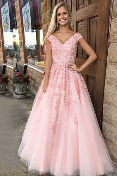 A-Line V-Neck Sweep Train Pink Tulle Prom Dress with Appliques Beading LR398