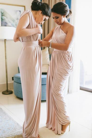 Sheath One-Shoulder Floor-Length Ruched Pink Satin Bridesmaid Dress AHC638