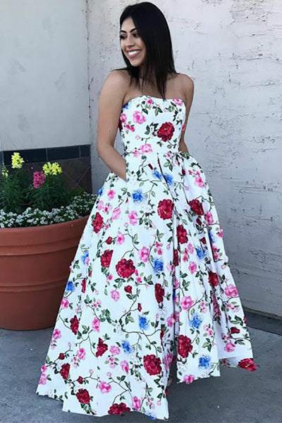 A-Line Sweetheart High Low White Printed Satin Sleeveless Prom Dress LR308