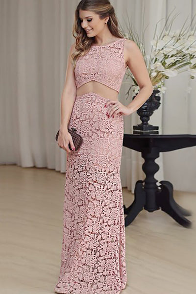 Mermaid Crew Floor-Length Cut Out Blush Lace Sleeveless Prom Dress LR469