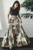 Two Piece Bateau Sweep Train Light Champagne Printed Satin Prom Dress with Beading LR304