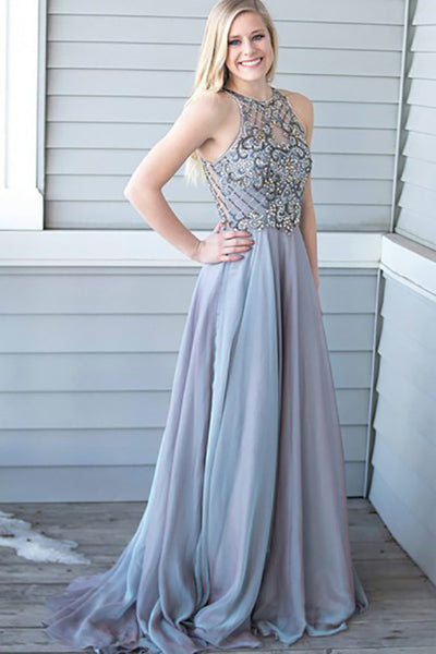 A-Line Jewel Sweep Train Lavender Chiffon Sleeveless Prom Dress with Beading LR154