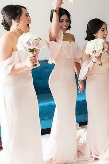 Mermaid Off-the-Shoulder Sweep Train Pearl Pink Satin Bridesmaid Dress with Ruffles AHC630 | ballgownbridal