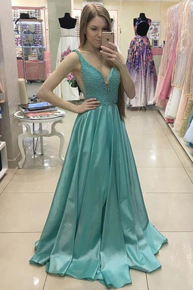A-Line Deep V-Neck Sweep Train Green Satin Prom Dress with Beading AHC674