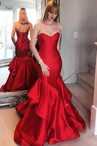 Mermaid Sweetheart Sweep Train Red Tires Prom Dress with Ruched PDA468 | ballgownbridal