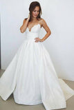 A-Line Spaghetti Straps Court Train Ivory Satin Wedding Dress with Lace AHC587