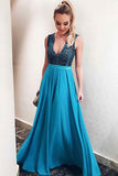 A-Line Deep V-Neck Blue Chiffon Backless Prom Dress with Appliques LR463 | ballgownbridal